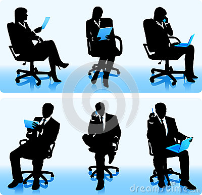 Businesswomen and businessmen silhouettes