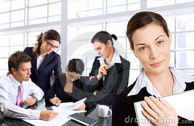 Businesswomen and her team