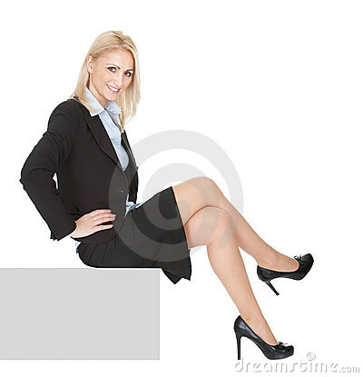Businesswomen sitting on copyspace