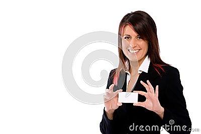 Busineswoman holding a blank card