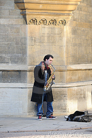 Busker in Cambridge Editorial Photo