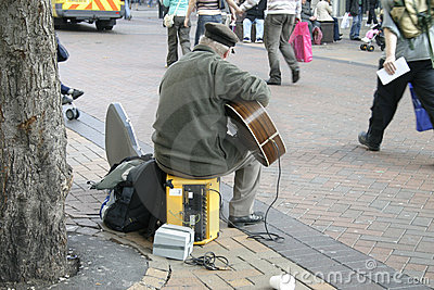 Busker with Electric Guitar