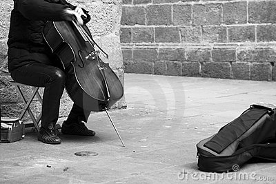 Busker playing the cello