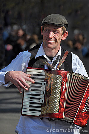 Busker Playing Piano Accordion in New York Editorial Stock Photo