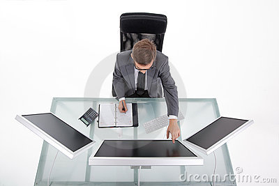 Bussines man in his office upper view