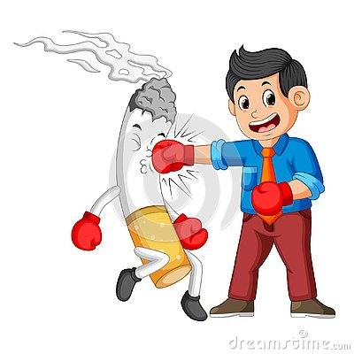 Free Bussinesman Boxing With A Cigarette Stock Image - 130519861