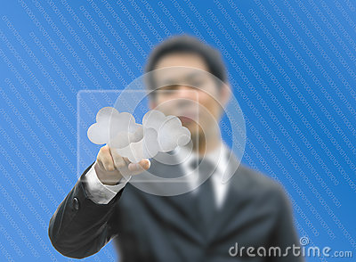Bussiness man concept pointing cloud