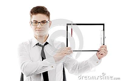 Bussinessman с доской сзажимом для бумаги