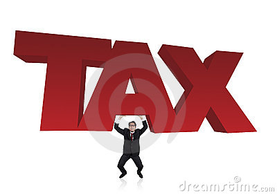 Bussinessman lifts a tax sign