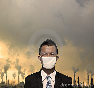 bussinessman with  mask and air pollution