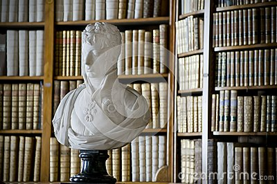 Bust and Bookshelf