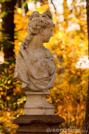 Bust of a woman in park