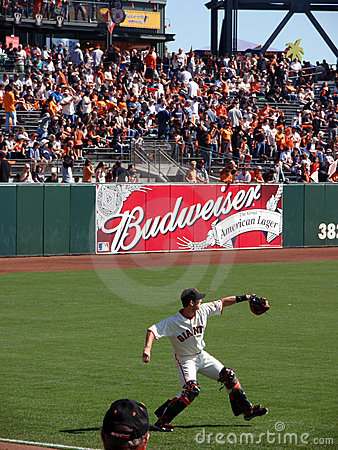 Buster Posey steps to throw ball warming up Editorial Stock Photo