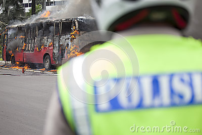 Busway Jakarta Burning Editorial Photo