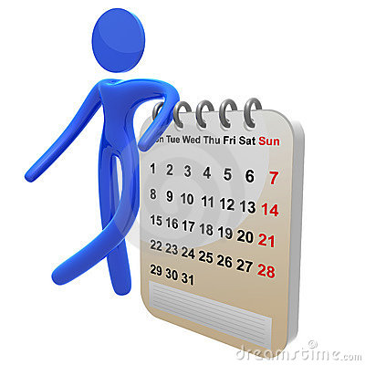 Busy 3d pictogram icon with schedule calendar