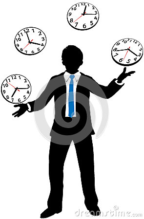 Busy business person juggles time clock