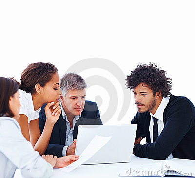 Busy business team discussing over a meeting