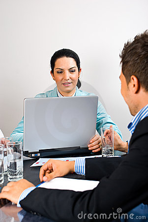 Free Busy Business Woman In The Middle Of Meeting Royalty Free Stock Image - 14861056
