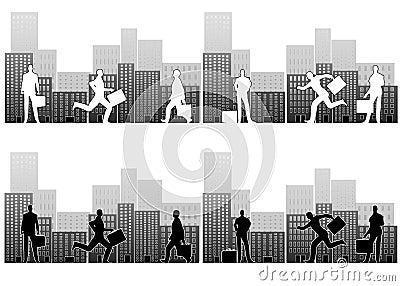 Busy Businessmen in City