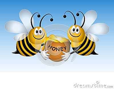 Busy Cartoon Bees With Honey