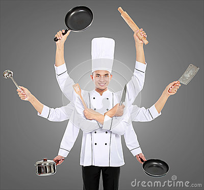 Busy chef concept
