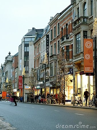 Busy commercial street in Leuven