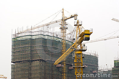 Busy construction site with Tower Cranes