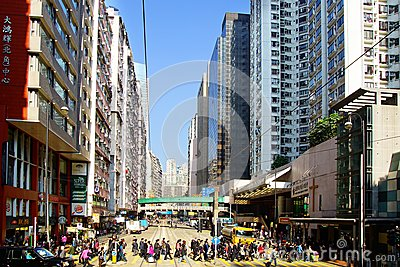 Busy Crossing Street in Hong Kong. Editorial Photography