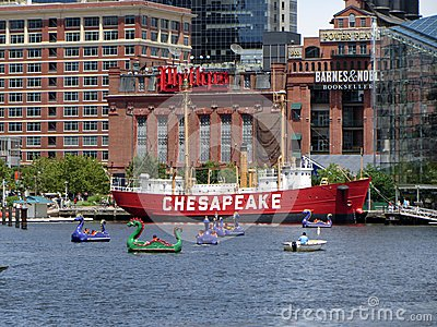 Busy Day at the Inner Harbor Editorial Stock Photo