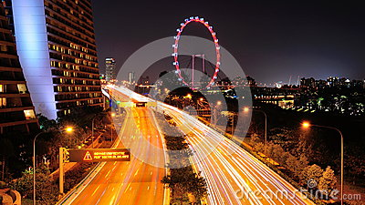 Busy East Coast Park expressway in Singapore