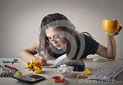 Busy employee Stock Photo