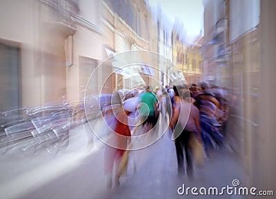 Busy european street