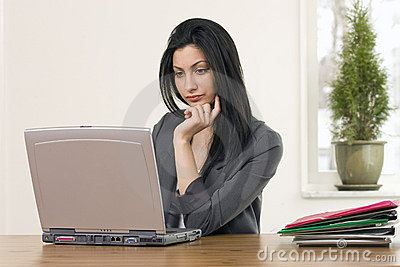 Busy female in office