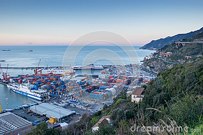 Busy harbor of Salerno, Italy Editorial Photo