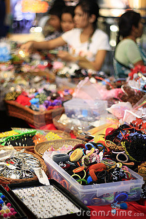 Busy Indian Street Markets Selling Accessories