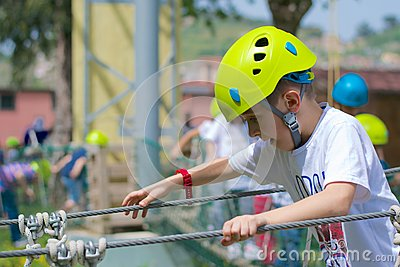Busy kid at ropes course