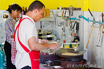 Busy kitchen of Thai restaurant Editorial Stock Photo