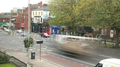 Busy life of Drumcondra Road Lower in Dublin, Ireland stock video footage