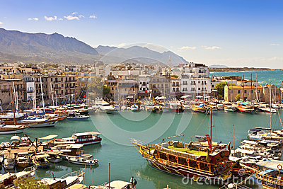 Busy life of an historic harbour in Kyrenia, Cypru Editorial Stock Image