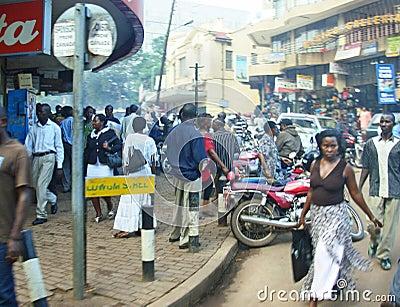 Busy main street people shopping Kampala,Uganda