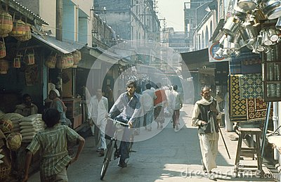 1977. India. A busy market street. Editorial Stock Image