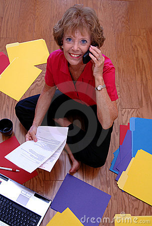 Busy mature business woman