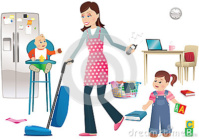 Busy mother and children Vector Illustration