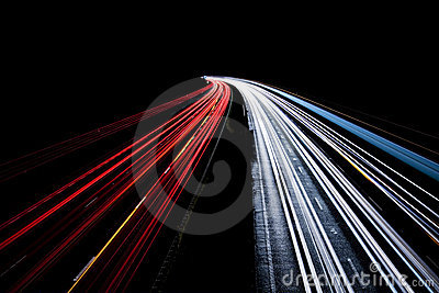 Busy Night Traffic Motion Blur