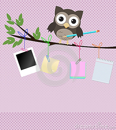 Busy owl/Little brown owl on branch with pencil