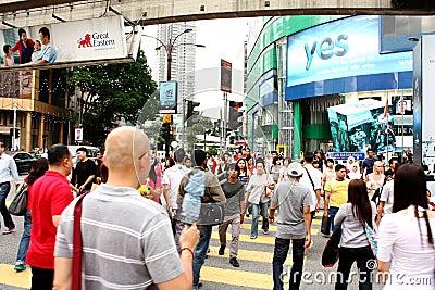 Busy Street of Bukit Bintang, Kuala Lumpur Editorial Photography