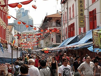 Busy Street In Chinatown Editorial Stock Photo