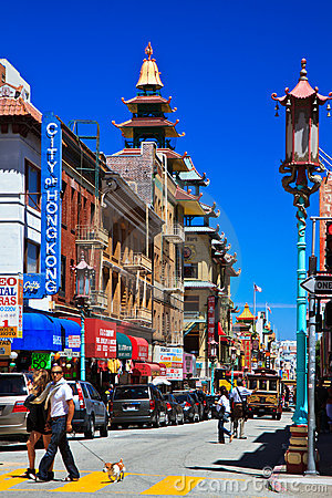 Busy street, Chinatown, San Francisco Editorial Photo