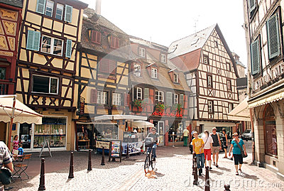 Busy street in Colmar, Alsace Province Editorial Photography