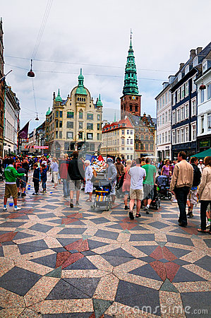 Busy street in Copenhagen, Denmark Editorial Photo